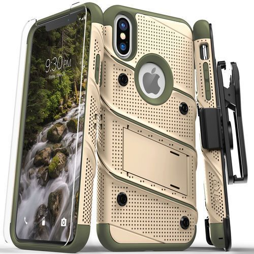 Zizo Bolt Cover Etui Pancerne iPhone Xs / X (Desert Tan/Camo Green) + Szkło Hartowane Na Ekran