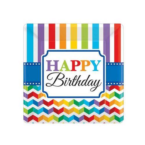 Amscan Talerzyki urodzinowe happy birthday - 18 cm - 8 szt. (0013051540111)