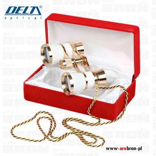Lornetka teatralna Delta Optical 3x25 Perłowa (DO-1509) - elegancka, z łańcuszkiem