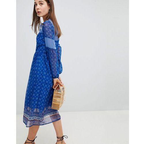 New look border print midi dress - blue