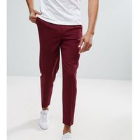 ASOS TALL Tapered Smart Trousers With Pleats In Burgundy Cross Hatch Nep - Red, kolor czerwony