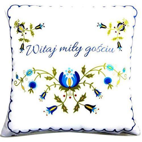 Poduszka dekoracyjna folk wzór kaszubski - witaj miły gościu - 20x20 (w-7) marki Pracownia artystyczna