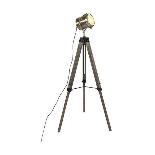Qazqa Industrialna lampa podłogowa drewniany statyw mosiężny reflektor - braha