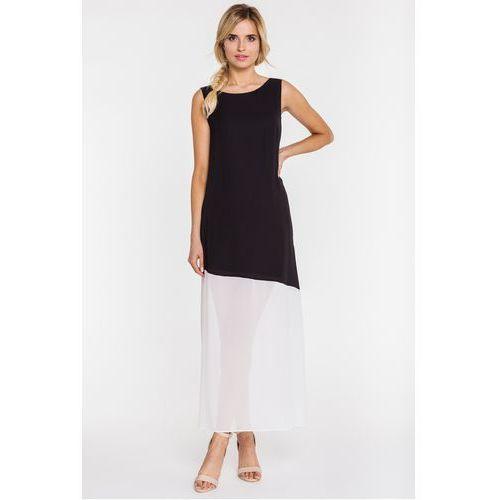 Czarno-biała sukienka maxi z rozcięciem - Bialcon, kolor czarny