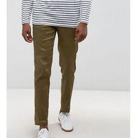 ASOS TALL Skinny Cropped Smart Trousers In Khaki Linen Mix - Green, kolor zielony