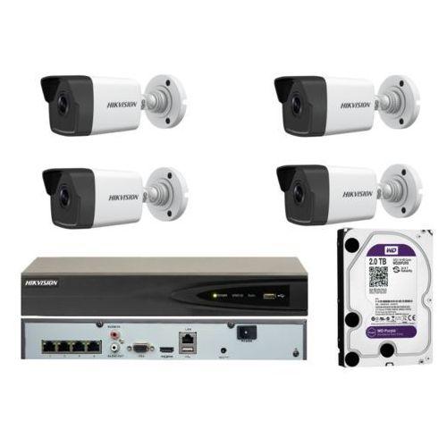 Zestaw monitoringu na 4 kamery z rejestratorem poe i dyskiem 2tb marki Hikvision