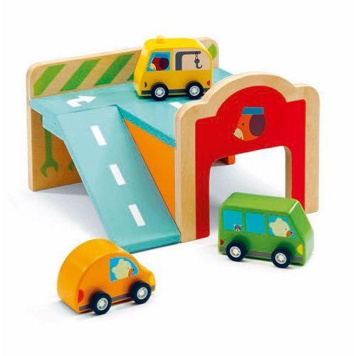 Djeco Drewniany mini garaż z autami dj06387