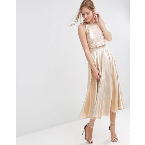 ASOS Metallic Crop Top Embellished Midi Dress - Multi