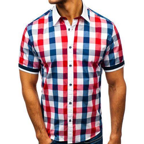 Bolf Koszula męska elegancka w kratę z krótkim rękawem czerwona 8901