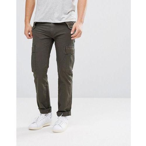 Celio Cuffed Cargo Trousers In Khaki - Green