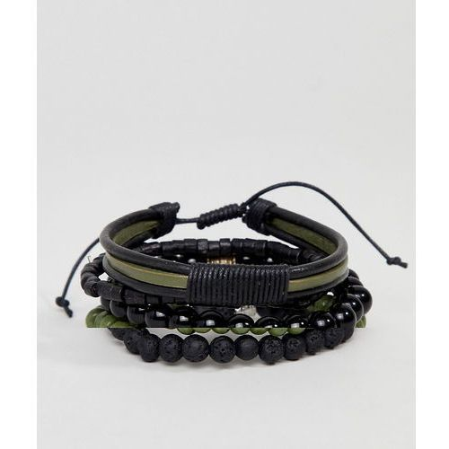 Asos design leather and beaded bracelet pack in black and khaki with feather - black