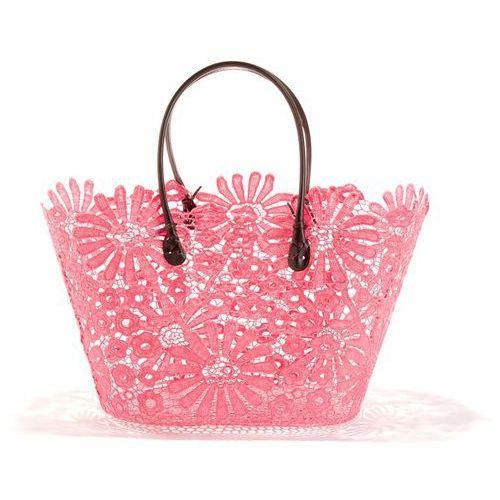 Koszyk z imitacji koronki w kwiatki, kolor różowy
