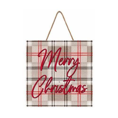 Knor Tabliczka świąteczna krata szara 30 x 30 cm (5901554536623)