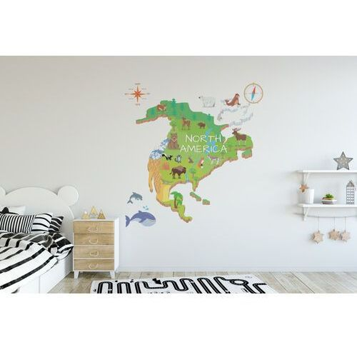 Coloray.pl Naklejki na ścianę mapa północnej ameryki