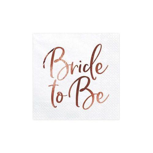 """Serwetki """"bride to be"""", białe, , 33 cm, 20 szt marki Partydeco"""
