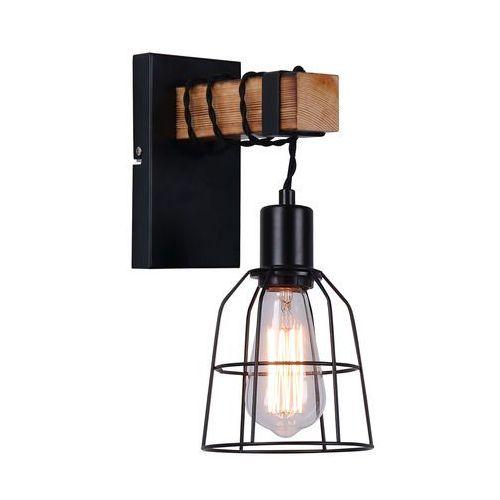 Italux Kinkiet lampa ścienna ponte wl-4290-1-l metalowa oprawa druciana klatka industrialna drewno czarna