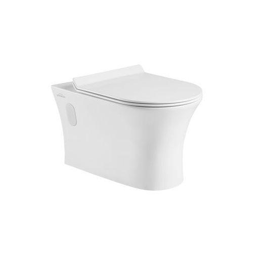 Invena Miska wisząca WC bez kołnierza Dokos z deską wolnoopadającą (5907798705504)