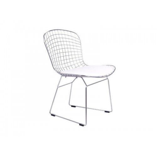 Krzesło metalowe net srebrne - stal chromowana, biała poduszka marki King home
