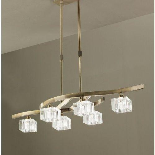 lampa wisząca CUADRAX 6L antyczny mosiądz i szkło optyczne, MANTRA 1105