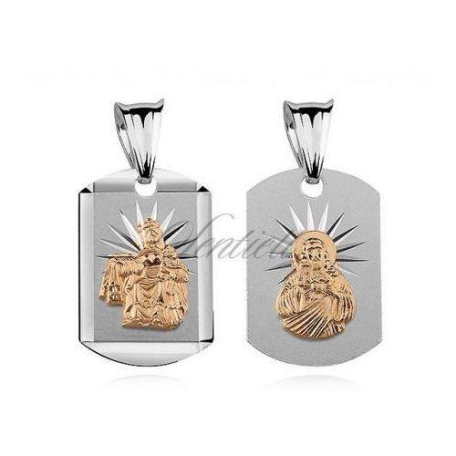 Srebrny medalik Jezus / Matka Boska Szkaplerzna pozłacana - MD309G, MD309G
