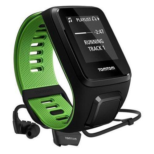 runner 3 cardio - zegarek sportowy z gps, czujnikiem tętna, pamięcią 3gb i słuchawkami (czarny/zielony) marki Tomtom