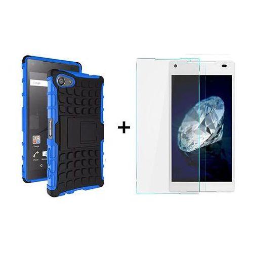 Zestaw   Perfect Armor Niebieska + Szkło ochronne Perfect Glass   Pancerna obudowa etui dla Sony Xperia Z5 Compact z kategorii Futerały i pokrowce do telefonów