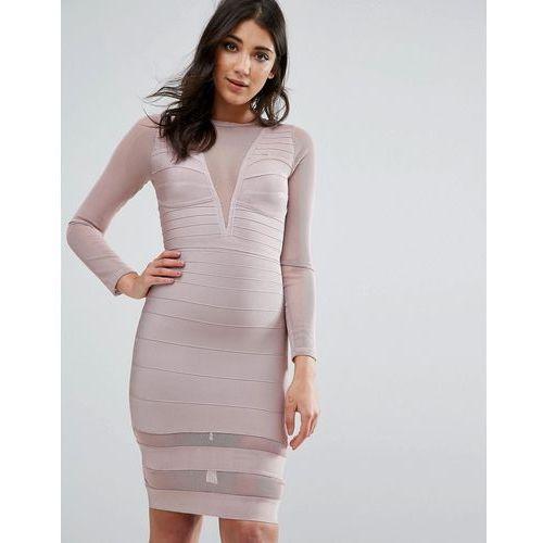 purple long sleeve mesh insert mini dress - pink marki Missguided