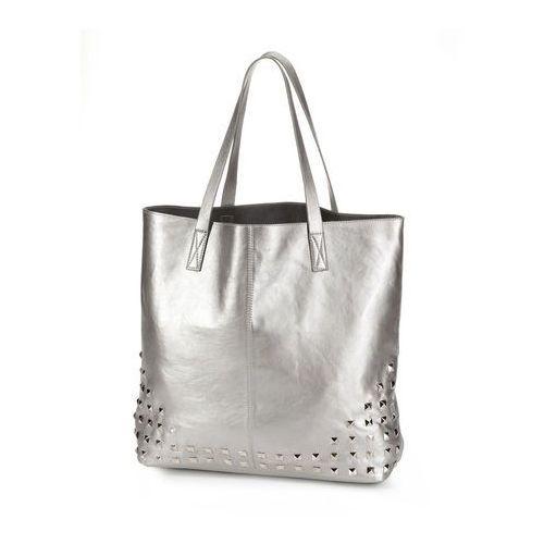 Torba shopper z ćwiekami bonprix srebrny kolor