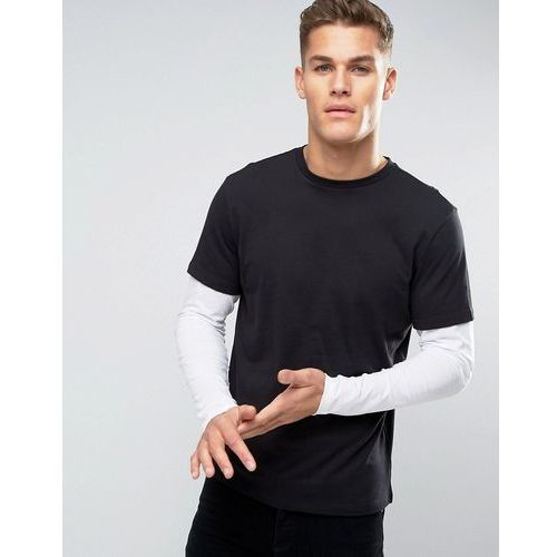 New look  layered long sleeve t-shirt in black - black