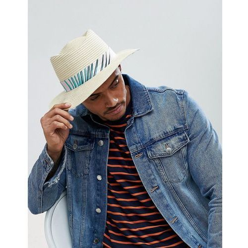 Asos diamond crown pork pie straw hat in natural with floral band detail - beige