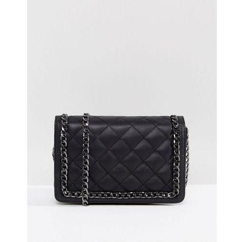 leather diamond quilt cross body bag with chunky chain handle - black marki Asos