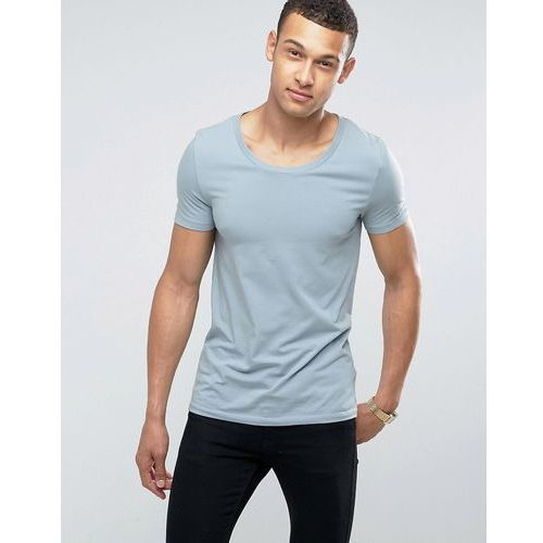 ASOS Muscle Fit T-Shirt With Scoop Neck And Stretch In Blue - Blue, 1 rozmiar