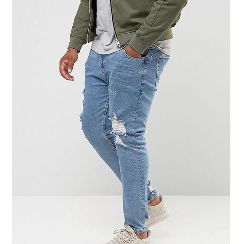 ASOS PLUS Skinny Jeans In Light Wash Blue Vintage With Heavy Rips and Repair - Blue