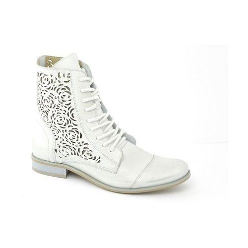 Botki Ravini 866 biało/srebrny, kolor biały