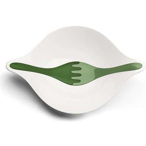 Miska do sałatek leaf medium biała z ciemnozielonymi łyżkami marki Koziol
