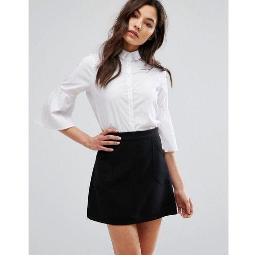 flare sleeve poplin shirt - white marki New look