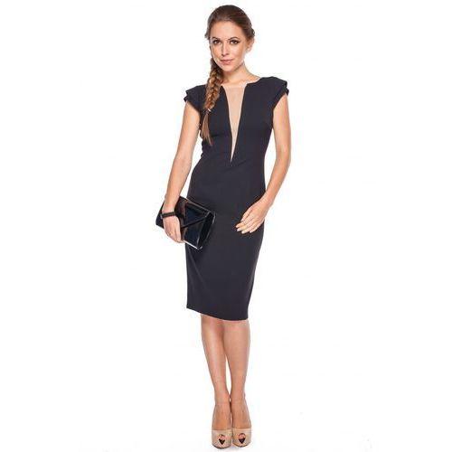 Sukienka z tiulową wstawką - GaPa Fashion, kolor czarny