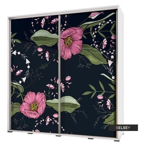 szafa przesuwna wenecja 205 cm malowane kwiaty na czarnym tle marki Selsey