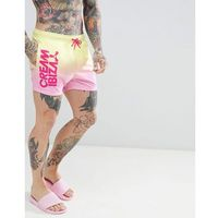 ASOS DESIGN Co-Ord Swim Shorts With Cream Ibiza Print In Short Length - Yellow, w 4 rozmiarach