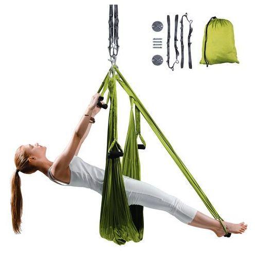 Antygrawitacyjny hamak do jogi hemmok zielony + pasy, wsporniki sufitowe i śruby mocujące marki Insportline