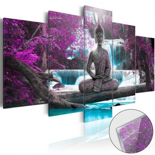 Obraz na szkle akrylowym - wodospad i budda [glass] marki Artgeist
