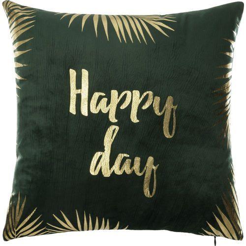 Atmosphera créateur d'intérieur Zielono-złota poduszka, wymiary 40 x 40 cm, dekoracyjna, ozdoba salonu lub sypialni, kwadratowa, miękka