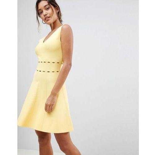 Morgan Knitted Full Prom Midi Dress - Yellow, w 4 rozmiarach