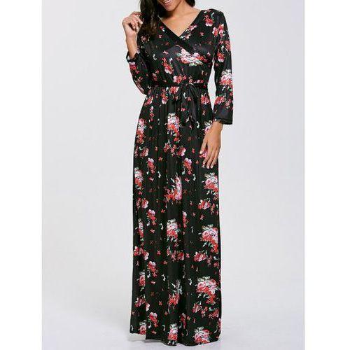 Rosewholesale Belted floral printed boho maxi dress