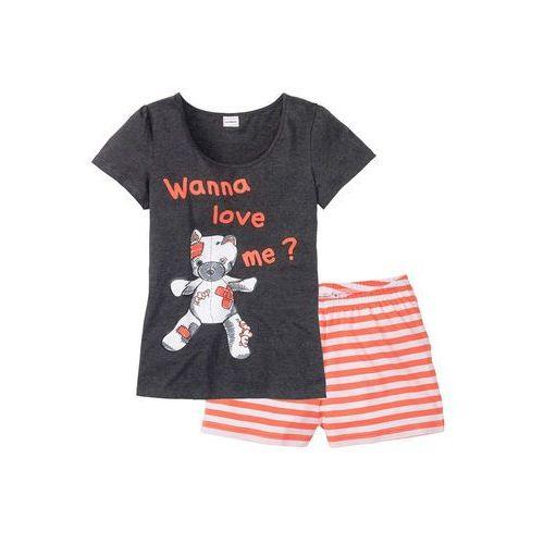 Piżama antracytowy z nadrukiem marki Bonprix