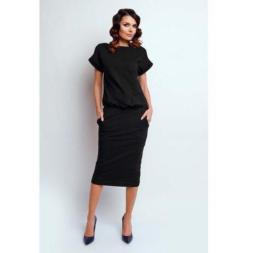 Czarna nowoczesna sukienka midi z krótkim rękawkiem marki Nommo