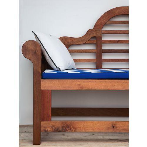 Ławka ogrodowa ciemne drewno z poduszką w zygzaki biało-niebieską toscana marlboro marki Beliani