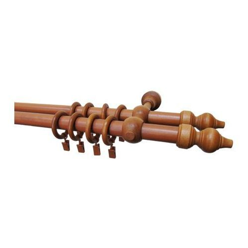 Karnisz podwójny drewniany 240 cm czereśnia