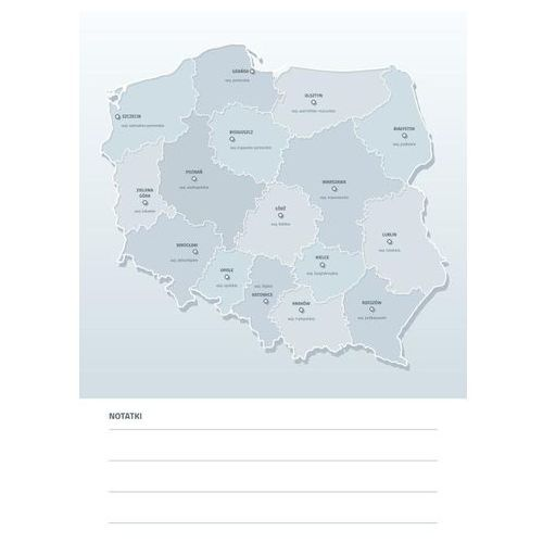 Wally - piękno dekoracji Tablica suchościeralna mapa polski z nazwami województw i miast wojewódzkich 190