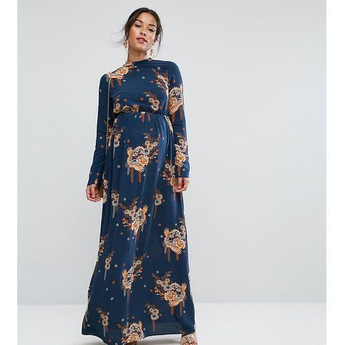 petite maxi dress with long sleeve in chinoiserie print - multi, Asos maternity